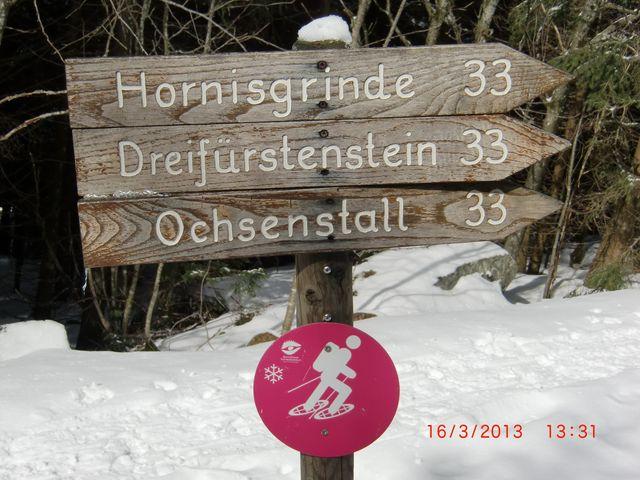 Ausschilderung Schneeschuh-Wanderweg